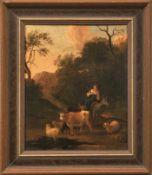 Junge Hirtin mit ihren Tieren auf dem Weg zur Tränke Niederlande, 17. Jh. - Kreis des Nicolaes