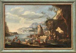 Kreis des Jacob de Heusch Südliche Flusslandschaft Am Ufer auf eine Fähre zur Überquerung des