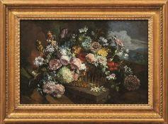 Pendants mit Blumenstillleben 18. Jh. Große üppig aufgeblühte Blumenbouquets in Körben auf Waldboden