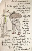 Zille, Heinrich Autograph mit Zeichnung (Radeburg 1858-1929 Berlin) Eigenhändiger Brief mit