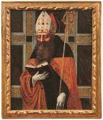 Veronesisch-paduanische Malschule Bischof mit Buch, Mitra und Krummstab Italien, fr. 17. Jh. Öl/Lwd.
