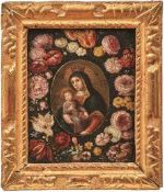 Kreis des Frans Francken II. Madonna im Blütenkranz In der ovalen Reserve die bekrönte Maria mit dem
