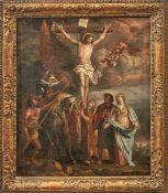 Kreuzigung Christi Süddeutschland, 18. Jh. Golgothadarstellung mit Christus am Kreuz, umgeben von