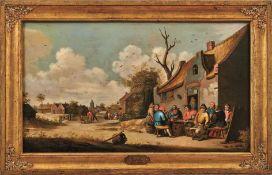 Mahu, Cornelis Dorfstraße mit fröhlicher Gesellschaft vor dem Wirtshaus (Antwerpen um 1613-1689