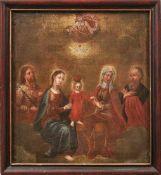 Heilige Familie Süddeutschland, 18. Jh. Im Zentrum der stehende Jesusknabe, flankiert von Maria,