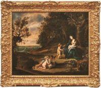 Casteels, Pieter I. Maria mit Kind und Johannes in waldiger Landschaft (Tätig 1629-1683 in Flandern)