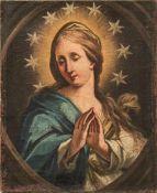 """Die Jungfrau Maria vor Gloriole mit Sternenkranz 18. Jh. Öl/Lwd. Verso bez. """"Pinxit Guichy /"""