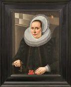 Portraitpendants Niederlande, 17. Jh. Bildnis einer vornehmen Dame im Alter von 55 Jahren und