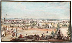 Heerlager bei Fürth 18. Jh. Eine russische Armee im kaiserlichen Dienst pausiert im Jahr 1735 bei