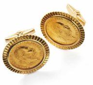 Paar Dukaten-Manschettenknöpfe Italien, 20. Jh. Runde Form, mittig eingefasste 1-Dukaten-Goldmünze