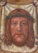 Vera icon 18. Jh. Antlitz Christi auf dem Schweißtuch der Veronika. Öl/Holz. 27 x 19,5 cm; unger.