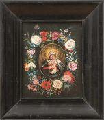Flämische Schule des 17. Jahrhunderts Blütenkranz mit Maria lactans In ovaler Reserve die