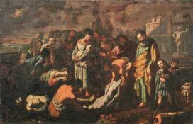 Grablegung Christi Italien, 17. Jh. Figurenreiche Szenerie vor antiker Kulisse. Öl/Lwd., doubl. 95,5