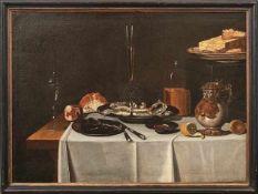 Großes Stillleben mit gedecktem Tisch Hanauer Schule des 17. Jahrhunderts Öl/Lwd., doubl. 90 x 122