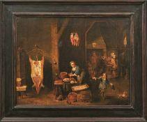 Helmont, Mattheus van (Attrib.) Das Wurstmachen (Antwerpen 1623-1679 Brüssel) Im Vordergrund