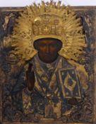 Heiligenikone mit Oklad St. Petersburg, 1856 Halbfigurige Darstellung des Heiligen Nikolaus von