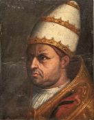 "Bildnis des Papstes Leo X. Florenz, 1. H. 16. Jh. Öl/Holz. Verso bezeichnet ""Giulio II. di Giov."