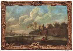 Flusslandschaft mit Personen Italien, 18. Jh. - Kreis des Francesco Zuccarelli Öl/Lwd., doubl. 95