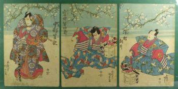 Utagawa Kunisada (Toyokuni III.) Triptychon mit Kabuki-Darstellung (Katsushika 1786-1865 Edo)