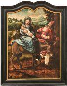 Die Heilige Familie auf der Flucht nach Ägypten Flandern, 16. Jh. Öl/Holz, parkettiert. 83 x 62