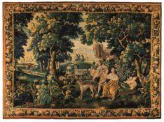Tapisserie Flandern, frühes 18. Jh. Diana, Aktaion und Amor in Landschaftspark, umlaufende