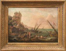 Manglard, Adrien - Kreis des Zwei Seestücke Schiffbruch an steiler Felsenküste mit sich ans Ufer