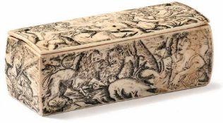 Elfenbeinkästchen Rom, um 1600 Querrechteckiger, leicht gebauchter Korpus mit anscharniertem Deckel,