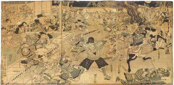 "Utagawa Kunisada (Toyokuni III.) Schlachtenszene ""musha-e"" (Katsushika 1786-1865 Edo)"