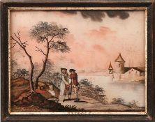 Drei Hinterglasbilder Wohl Augsburg od. Norditalien, 18. Jh. Querrechteckige Form mit pastoralen