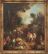 Lemoyne, François - Kopie nach Galante Jagdgesellschaft bei der Rast Öl/Lwd. 167 x 148 cm. - Das