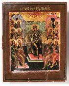 Pfingstikone Russland, E. 18. Jh. Hochrechteckige Darstellung der Herabkunft des Heiligen Geistes zu