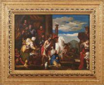 Venezianische Schule des 17. Jh. Tod der Dido (Verona 1528-1588 Venedig) Öl/Lwd., doubl. 66 x 90,5