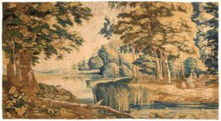 Tapisserie Flandern, um 1700 Landschaftspark mit Personen und Tieren. 229 x 390 cm. - Die