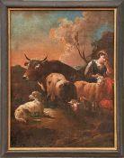 Roos, Philipp Peter, Werkstatt oder Kreis In Landschaft ruhende Hirtin mit ihren Tieren (Frankfurt/