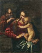 Die Heilige Familie mit KirschenBologneser Schule des 17. JahrhundertsDer heilige Joseph reicht