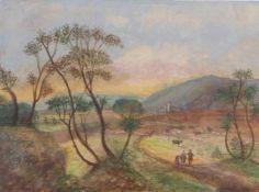 Südliche LandschaftUm 1800Auf einem Weg heimkehrende Bauernfamilie sowie Hirte mit weidenden