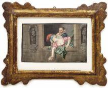 Der LiebesbriefGenremaler des 17. JahrhundertsPaar an einer Fensterbrüstung. Gouache. 9,3 x 15,5 cm;