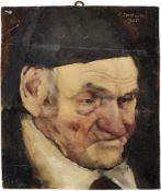 Padua, Paul MathiasBildnis eines alten Mannes mit Kappe(Salzburg 1903-1981 Rottach-Egern) Öl/Holz,