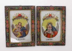 Zwei Hinterglasbilder18. Jh.Ovaler Bildausschnitt mit Darstellung des heiligen Joseph und der