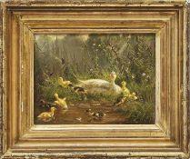 Lange, FritzPendants Hühner- und Entenfamilie(Düsseldorf 1851-1922 ebd.) Ente mit ihren Küken am