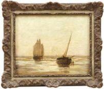 Bouvier, ArthurFischerboote an der Küste in Flandern in der Morgendämmerung(Brüssel 1837-1921