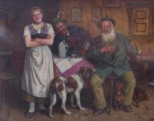 Heine, Johann AdalbertOberbayerische Wirtsstube mit zwei Jägern und Kellnerin(Um 1850 geb., war