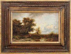 Landschaftsmaler des 19. JahrhundertsAn einem Teichufer rastende PersonenÖl/Holz. 24 x 39 cm.