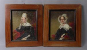 Zwei Bildnisse bürgerlicher Damen im Biedermeiergewand1. H. 19. Jh.Öl/Lwd. 30 x 26 cm; unter Glas