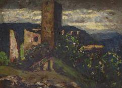 Frey-Moock, AdolfBurgruine auf einer Anhöhe(Jona 1881-1954 Egnach) Öl/Pappe. Links unten sign. 18