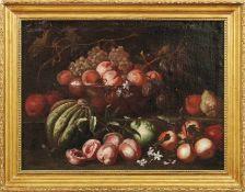 FrüchtestilllebenRömische Schule des 17. JahrhundertsZweizoniger Aufbau mit Melone, Pfirsichen,