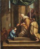 Einführung Marias in den TempelSüddeutschland, 18. Jh.Öl/Lwd., randdoubl. 81,5 x 66 cm; unger. -