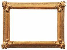 Goldrahmen18. Jh.Gekehlte Sichtleiste, Wulstprofil, granulierter Kehle, glatter Abschluss, die Ecken