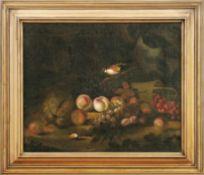 Waldbodenstück mit Früchten und DistelfinkNiederländischer Stilllebenmaler des 18. JahrhundertsÖl/