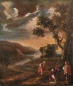 FlusslandschaftDeutschland od. Niederlande, 17. Jh.Im Vordergrund drei Männer in orientalischer